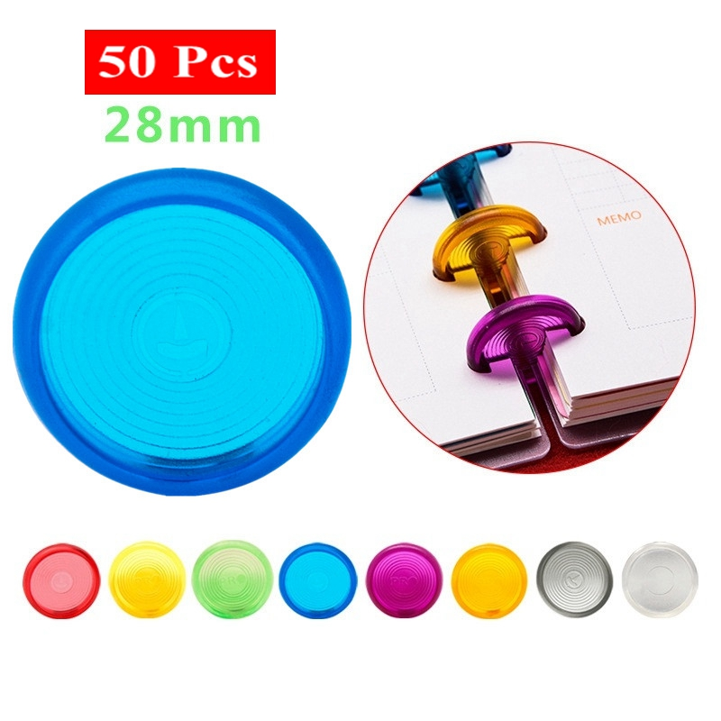 50Pcs 28mm Mushroom Hole Ring Binder For Notebooks/Planner Diy Colorful Loose Leaf  Binding Rings Discbound Discs CX19-004