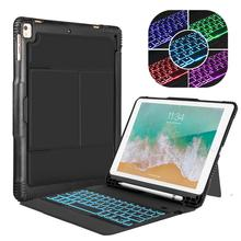 Detachable Case For iPad with Bluetooth Keyboard Heavy Duty Rubber Folio Linen Smart Cover for iPad Pro 9.7/ 2017/ Air/ Air 2 detachable keyboard case smart cover for ipad 9 7 2017 2018 pro air 2 1 3 in 1 functionality keyboard with protective case a30
