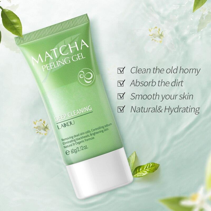 60g Matcha Essence Exfoliator Gel Facial Scrub Face Peeling Smooth Leg Arm Knee Repair Body Scrub Face Cream Whitening Skin Care