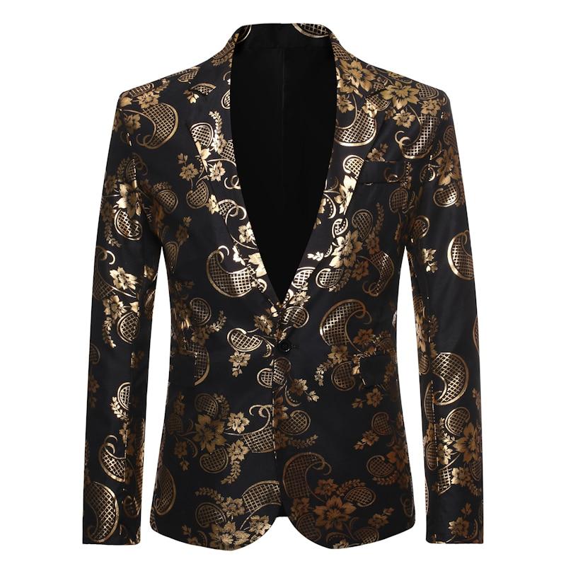 New Arrival Men's One Button Gold Foil Printing Suit Wedding Suit Casual Blazer Men Golden Floral Printed Plus Size