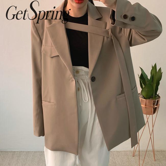 GETSPRING Women Blazer Irregular Bandage Vintage Women Blazers Jackets Blue Khaki All Match Long Suit Coats Women 2019 Autumn