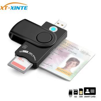 XT-XINTE USB 3.0 2.0 CAC Smart Card Reader Micro SD/TF Memory ID Bank EMV2 Electronic Citizen SIM Backup Copy Connector Adapter