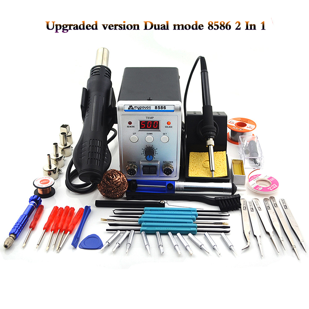 New Solder Station 8586 2in1 Electric Soldering Irons Hot Air Gun 750W SMD Rework Soldering Desoldering Welding Repair Tool Kit