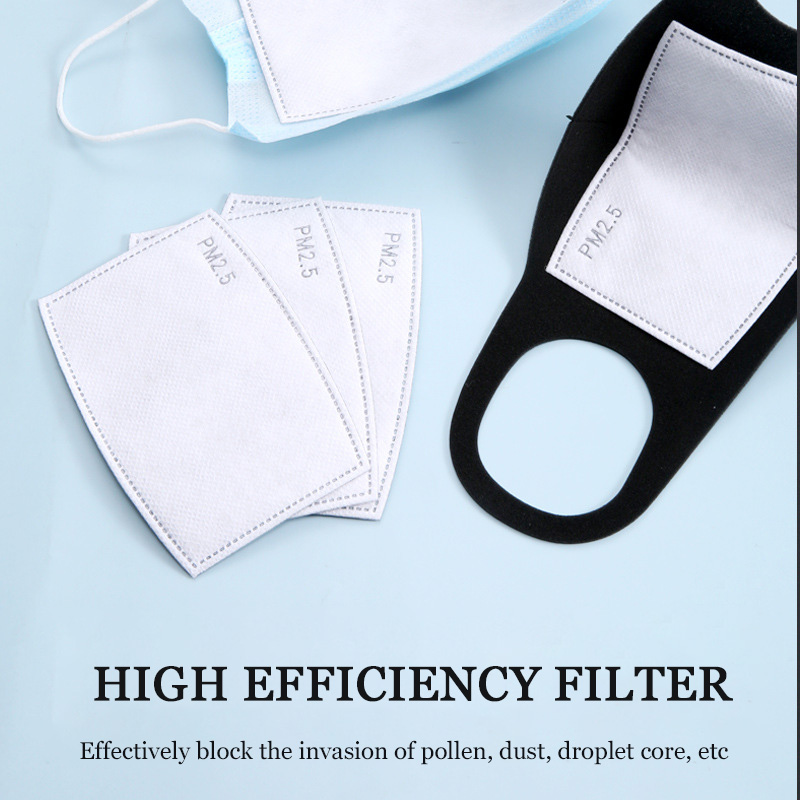 10pcs/lot Pm2.5 Filter Paper Anti Haze Mouth Mask Anti Dust Mask Filter Paper Replacement Lining Care Activated Carbon