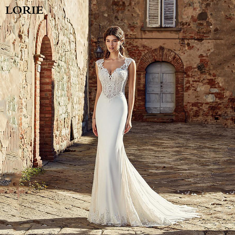 LORIE Mermaid Wedding Dresses 2019  Appliqued Lace Boho Bridal Gown Romantic Buttons Vestido De Voiva