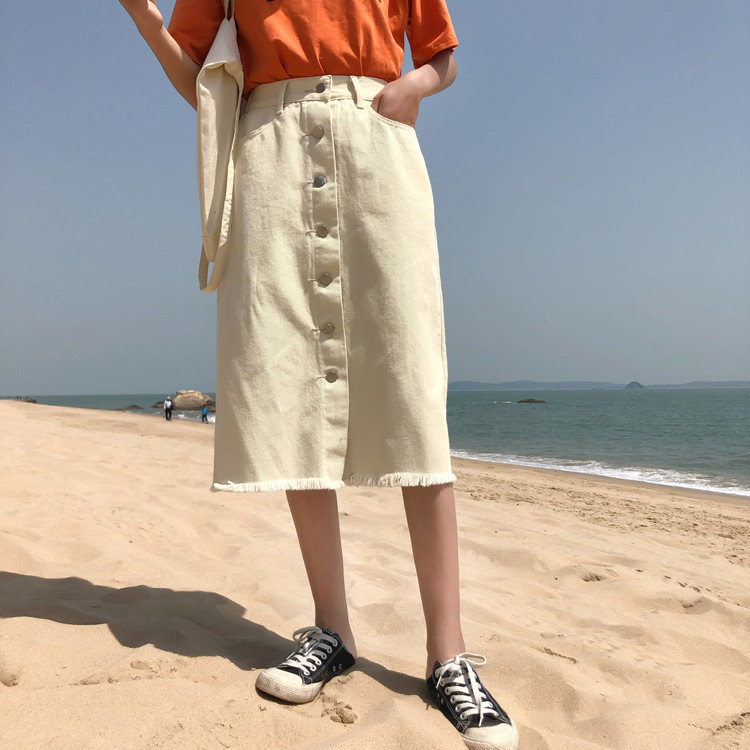 Photo Shoot Korean-style Sophisticated Style Elastic Waist Mid-length High-waisted Slimming Skirt Slip Buckle Flash One-step Ski