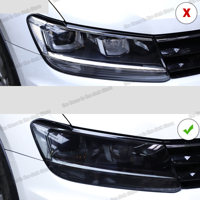 Lsrtw2017 TPU Transparent Black Car Headlight Protective Film For Volkswagen Tiguan 2017 2018 2019 2020 Anti-scratch Sticker