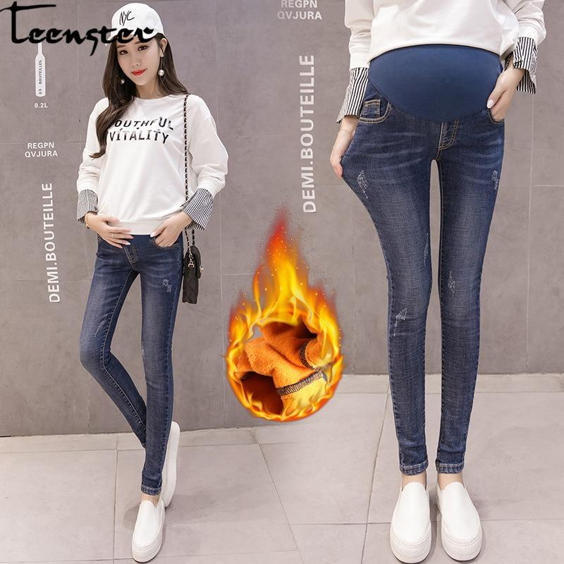 Teenster Winter Fleece Thick Maternity Jeans Autumn Pregnancy Denim Pants Support Bell Pregnant Trousers Women Warm Leggings