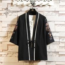 Japanese Kimono Dragon Embroidery Yukata Coat Samurai Harajuku Japan Haori Cardigan Tops Asian Chinese Traditional Shirt Costume