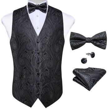 New Teal Green Paisley 100% Silk Formal Dress Vest Men Waistcoat Vest Wedding Party Vest Tie Brooch Pocket Square Set DiBanGu 9