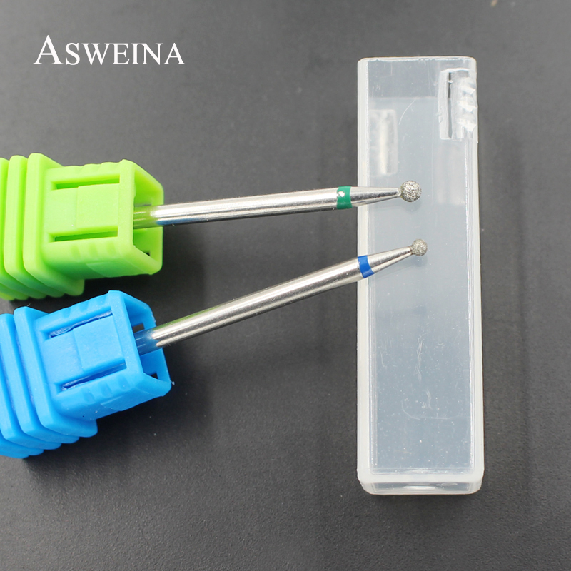 ASWEINA 2Pcs/set Round Diamond Nail Drill Bit Rotary Bur Milling Cutter Nail Art Clean Accessories Nail Polished Tools