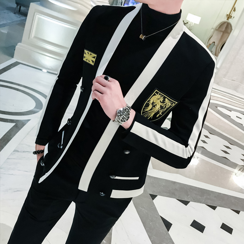Black White Stripe Blazer With Gold Embroidery Slim Fit Stage Costumes For Singers Mens Wedding  Prom Chaqueta De Vestir Hombre