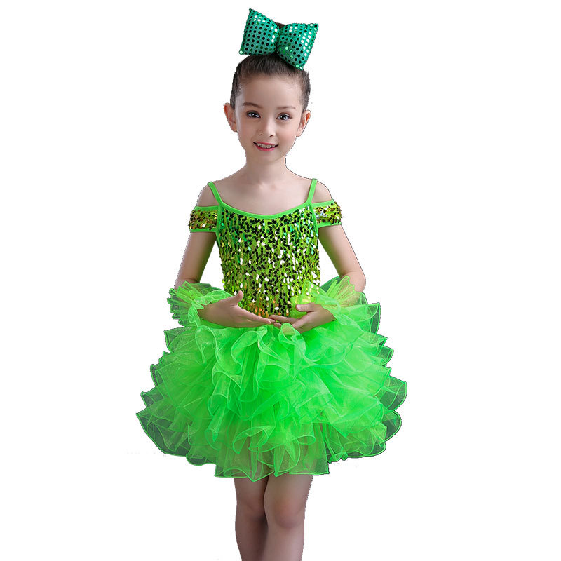 New Children's Dance Costumes Sequins Girl Princess Dress Dance Performance Costume Dance Wear Girl