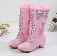 Girls Anna Leather Boots Shoes For Winter Baby Girls Warm Fur High heeled Elsa Snow Princess Boots