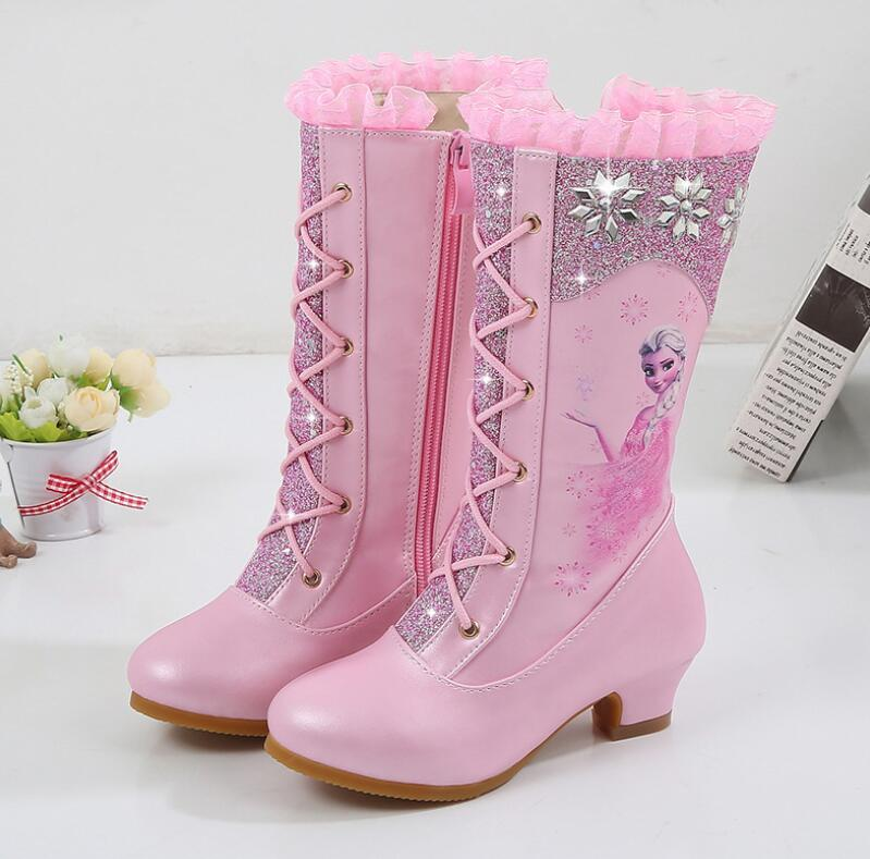 Girls Anna Leather Boots Shoes For Winter Baby Girls Warm Fur High-heeled Elsa Snow Princess Boots