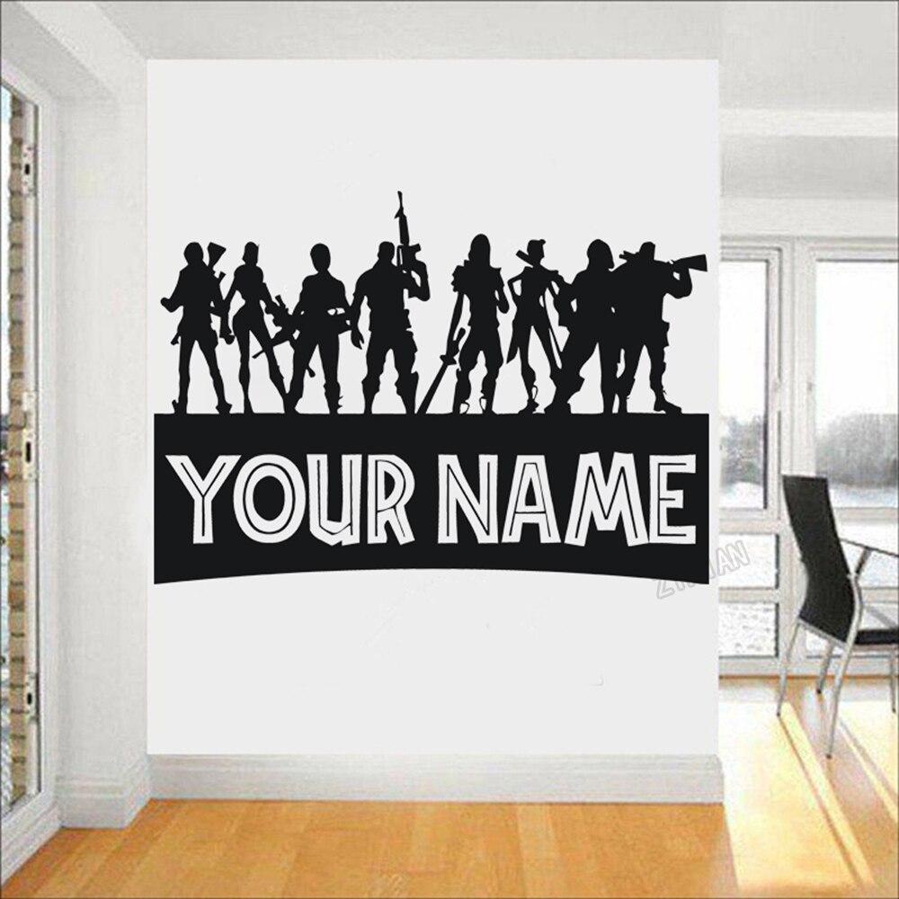 Etiqueta de la pared del nombre personalizado de los niños para la sala de juegos pegatinas de pared de los jugadores PS4 para el arte de la habitación de los niños posar decoración de vinilo mural Y040