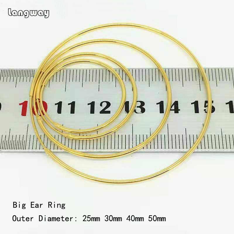 Simple Golden/Gold สีขนาดใหญ่ Hoop ต่างหูสำหรับผู้หญิง 925 เงินสเตอร์ลิงรอบวงกลมขนาดใหญ่ต่างหู Hoops แหวนหูเครื่องประดับ