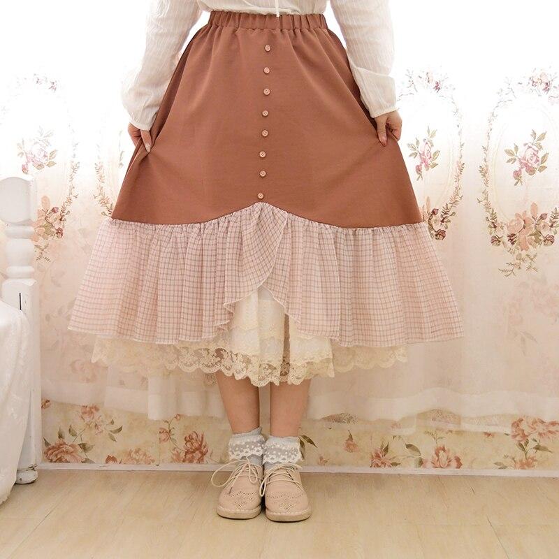 Japonais Mori fille Harajuku Lolita Vintage rétro Plaid à volants coton lin Patchwork femmes taille élastique jupe automne Faldas