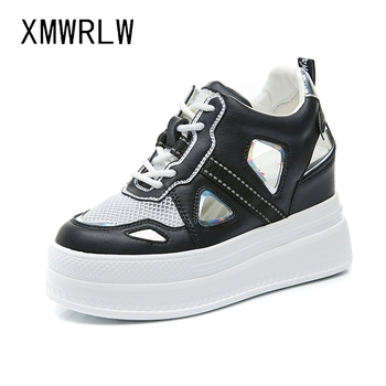 XMWRLW Women Chunky Sneakers 2020 Summer Split Leather Casual Black White Women Shoes Hidden Heel Ladies Chunky Shoes Sneakers