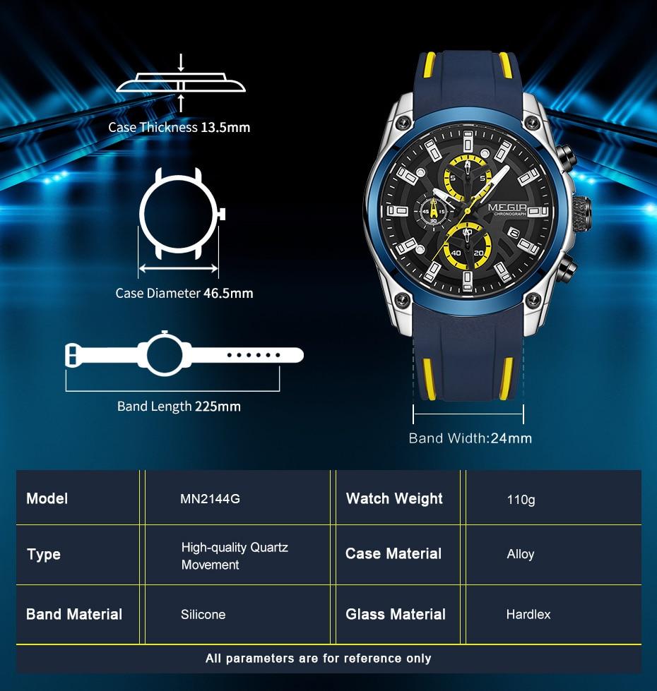 H16e929e1e0424ddbb43c7c164991c907W MEGIR 2020 Blue Sport Watches for Men