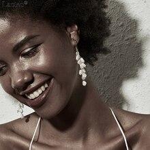 Lacteo Bohemian Multi Layer Imitation Pearl Dangle Earrings for Women Statement Golden Metal Tassel Drop Female Jewelry