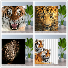 Bath Curtains Waterproof Polyester-Cloth Animals Printed Tiger Leopard Lion with Hook