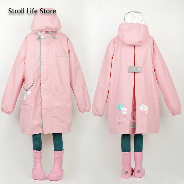 Korea Yellow Kids Raincoat Girl Long Rain Coat Poncho Waterproof Suit Cover Long Rain Jacket Kids Windbreaker Impermeable Gift 3