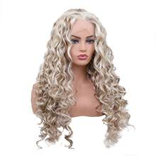 TINY LANA Brown Blonde Color Kinky Curly Wigs for White Women Synthetic African Fluffy Hair High Temperature Fiber Lace Front(China)