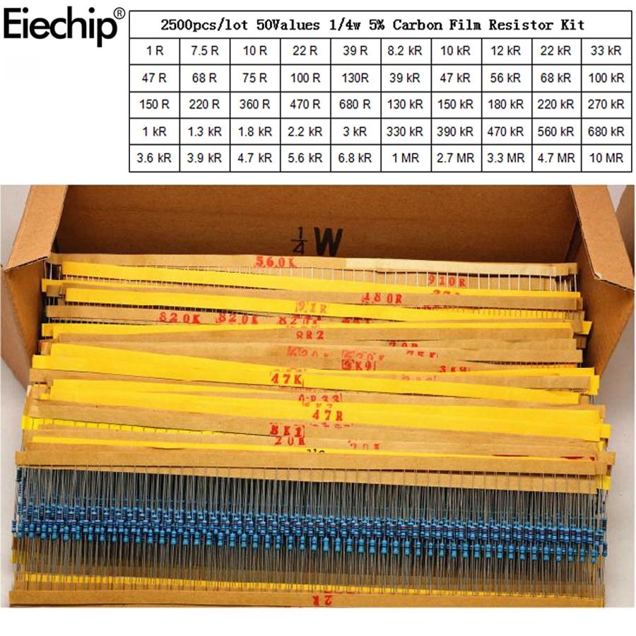2500 шт. 1/4 Вт резисторы, набор в ассортименте 0,25 Вт, набор сопротивления для углеродной пленки, 50 значений, набор в ассортименте, 1 Ом-10 м резист...