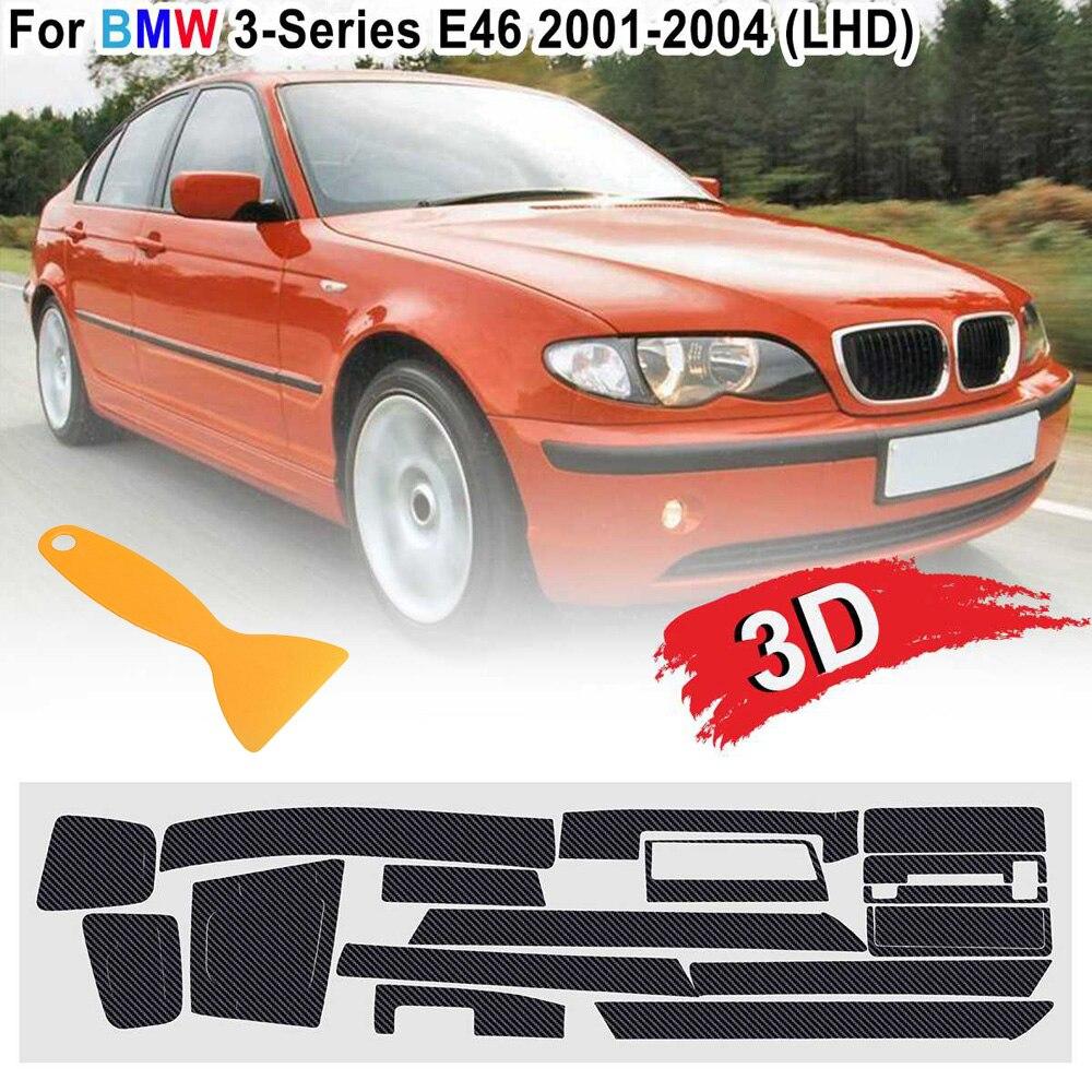 3D Carbon Fiber Style Car Interior Stickers Decals W/ Scraper Stylish For BMW 3 Series E46 2001-2004 LHD Car Accessories