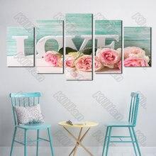 Estilo planta pintura em tela mural cama modular casa decoração cópias 5 peças rosa amor cartaz sala de estar parede ao ar livre