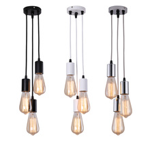 Creative Restaurant Pendant Lamp 3 Bulbs Dining light Modern Vintage Edison Bulbs Lighting Fixture Industrial E27 Hanging Bulbs cheap SUNMPOOS Plated 2 years ROHS Polished Chrome Metal LED Bulbs 90-260V Cord Pendant White Black Silver Champagne 10-15square meters