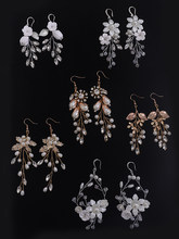 Bridal Earring Handmade Rhinestones Crystal Pearl Accessories Wedding Dangle Earring Bridal Fashion Women Girls drop Jewelry