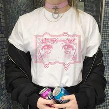 Футболка Lychee женская с коротким рукавом, свободная Милая рубашка с принтом Сейлор Мун из японского аниме, в стиле Харадзюку, модная сорочка ...