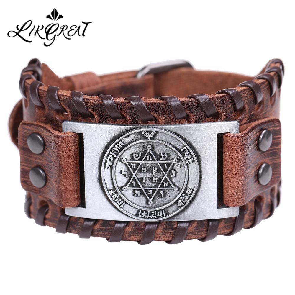 LIKGREAT Vintage Solomon Star of David Hexagram Charm Bracelets Men Wide Leather Bracelet Vintage Tantrism Amulet Jewelry Gifts|Charm Bracelets| - AliExpress