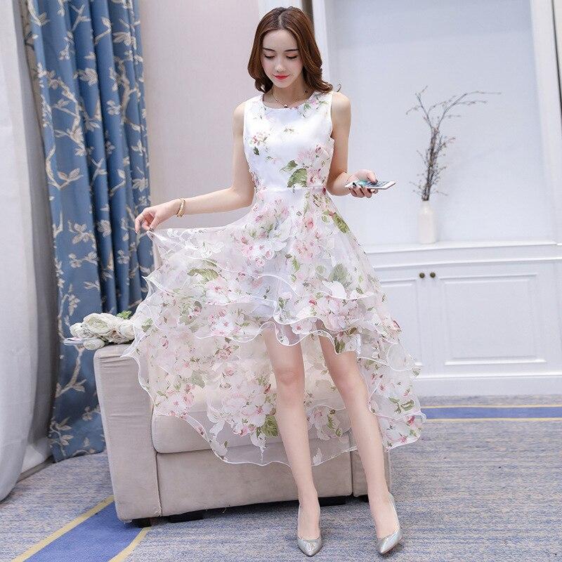 Summer Organza Puffy Dress WOMEN'S Dress Summer Sleeveless Big Hemline Mid-length Debutante Elegant Long Skirts Beach Skirt