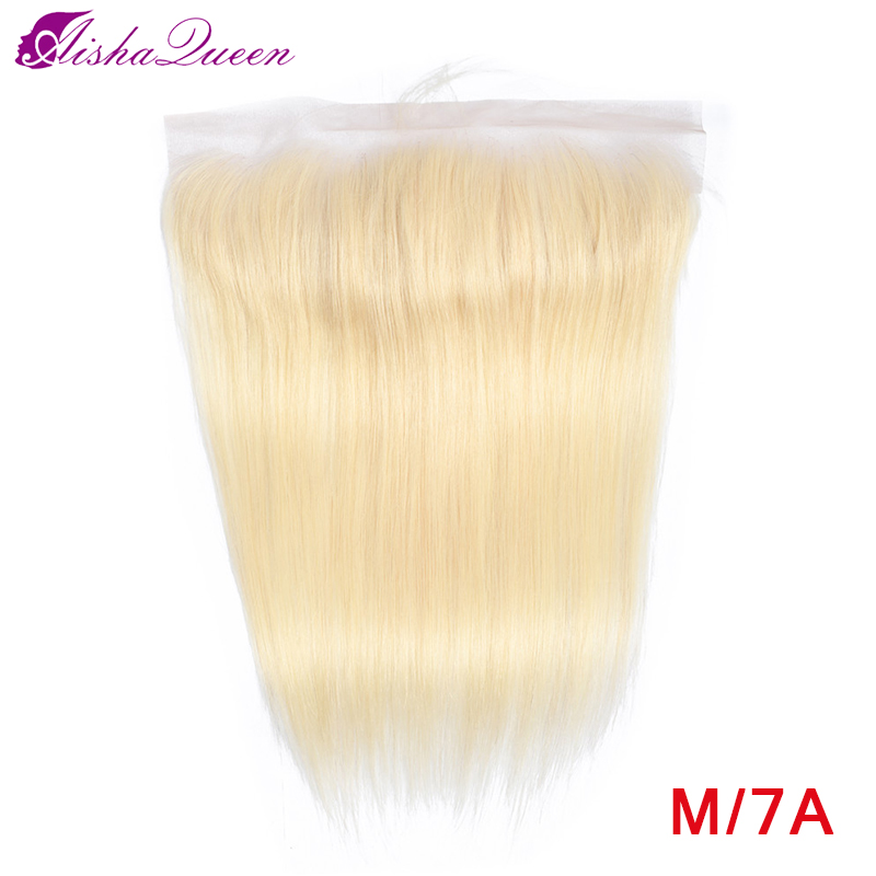 Aisha Queen Brazilian Straight 613 Blond 13x4 Lace Frontal Medium Ratio Non-Remy Ear to Ear Human Hair Frontal Can be dyed 8-20 image