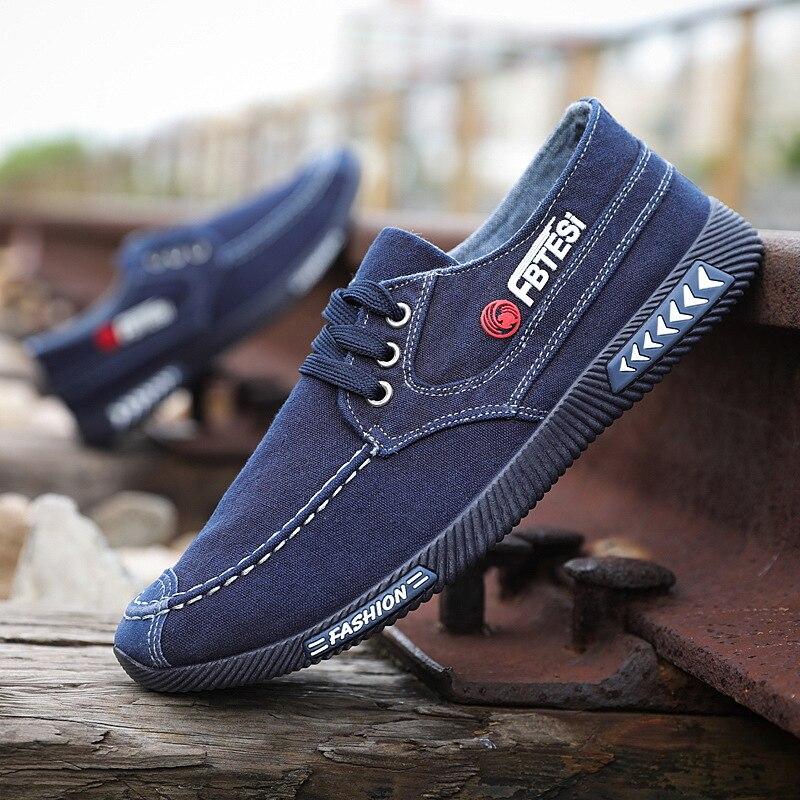 2020 Summer Spring Men Denim Canvas Shoes Lace Up Men Casual Shoes Comfort Men Loafers Casual Sneaker Men Sneakers Male Shoes