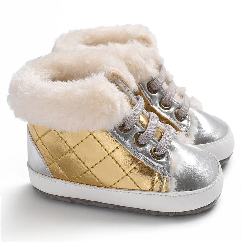 2019 Winter PU Leather Sports Gold 0-2 Years Boy Outdoor Snowfield Walking Baby Boots Booties Soft Sole Warm Non-slip Crib Shoes