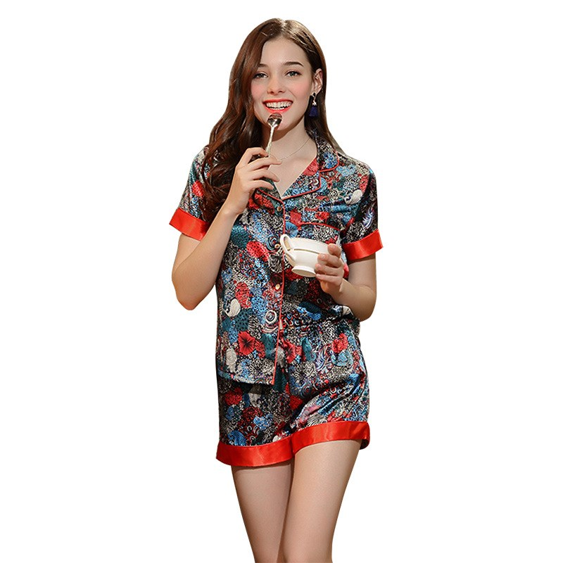 Fashion Women Casual Loose Lingeries Female Print Night Suit Summer Short Sleeve Pajama Sets