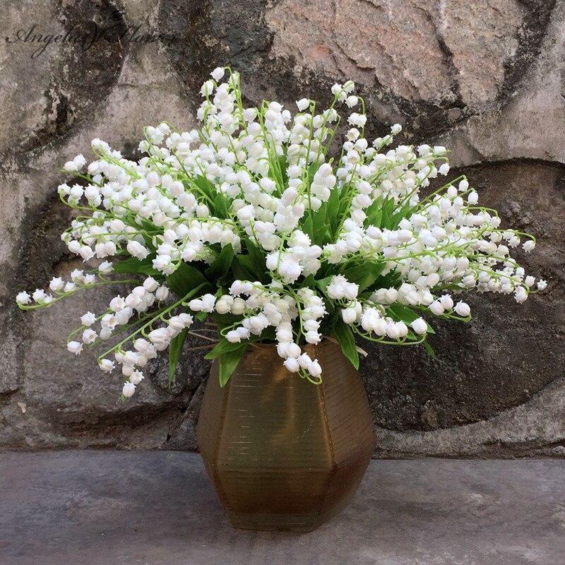 Nova simulação de casamento flor vale lírio duro sentir simulação vento carrilhão orquídea plástico falso casamento flor decoração da mesa casa