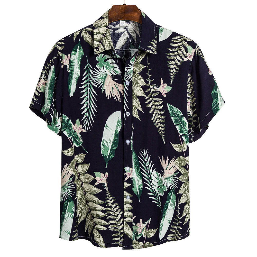 Adisputent 2020 New Men's Beach Shirts Summer Coconut Tree Print Short Sleeve Button Down Hawaiian Male Shirts Camisa Masculina