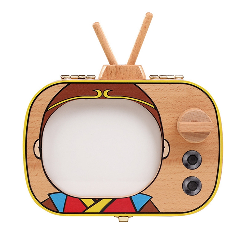 Baby Tooth Keepsake Box Wooden Teeth Box Tv Shaped Tooth Keepsake Box Teeth Storage Keepsakes Announcements Collecting Gift,B