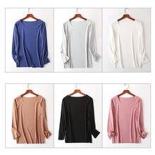 Повседневная Свободная однотонная блузка женская рубашка с длинным