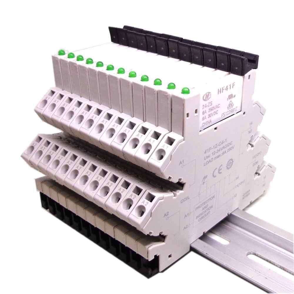 5 Chiếc 41F-1Z-C4-1 HF41F 5V 12V 24V 6A 1CO Slim Tiếp Screwless Nhà Ga Tất Có Đèn LED Và mạch Bảo Vệ 24VDC/AC Eo Rơ Le