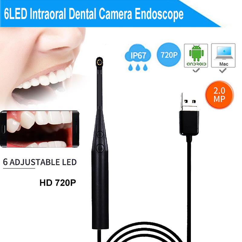 2MP 720P Intraoral Dental Camera Endoscope 6LED USB Micro-check Inspection Oral Real-time Inspect Camera Otoscopio Teeth Cam