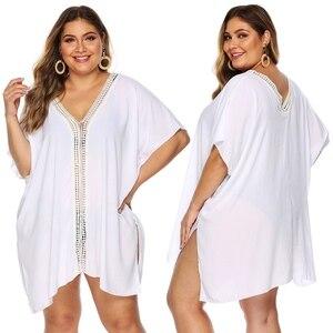 Женская пляжная туника, белая Пляжная накидка, большие размеры, 4xl