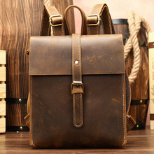 Mini Backpack Women Genuine Leather Shoulder Bag Pack for Teenager School Back Pack Men Crazy Retro Backpacks Travel Bag mochila mini backpack women genuine leather women s anti theft bagpack vintage back pack for teenager girls travel school phone hand bag