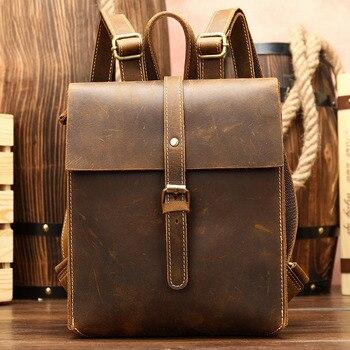 цена на Mini Backpack Women Genuine Leather Shoulder Bag Pack for Teenager School Back Pack Men Crazy Retro Backpacks Travel Bag mochila