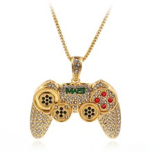 Hip Hop Game Machine Handvat Ketting Hanger Mens Volledige Crystal Lange Collier Fashion Game Controller Ketting Sieraden(China)